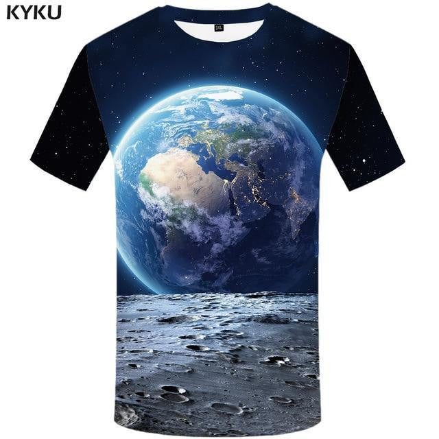 3d Design Space T-shirt Earth and Moon (Mens Sizing)