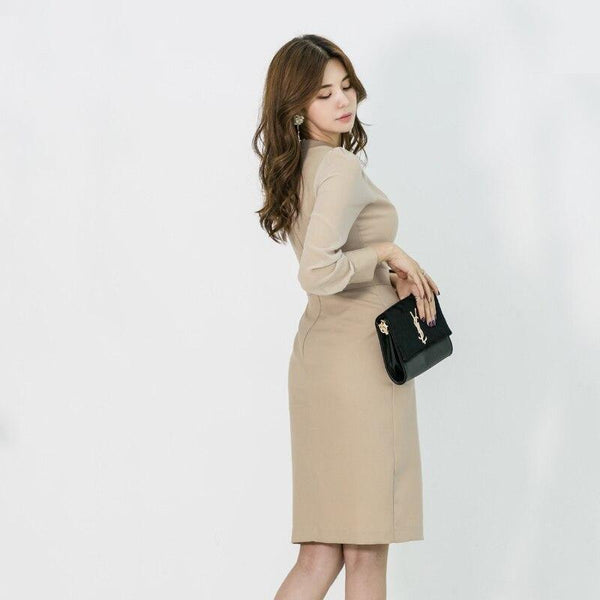 Autumn Women Dress fashion Style Slim Waist Dress Long Sleeve Office Ladies Elegant Midi Dress Vestidos