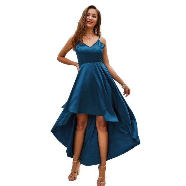 SKTSUUC Sexy Dresses Woman Party Night Elegance Knee Sleeveless Spaghetti Strap Front Short Back Long Women Dress Elegant