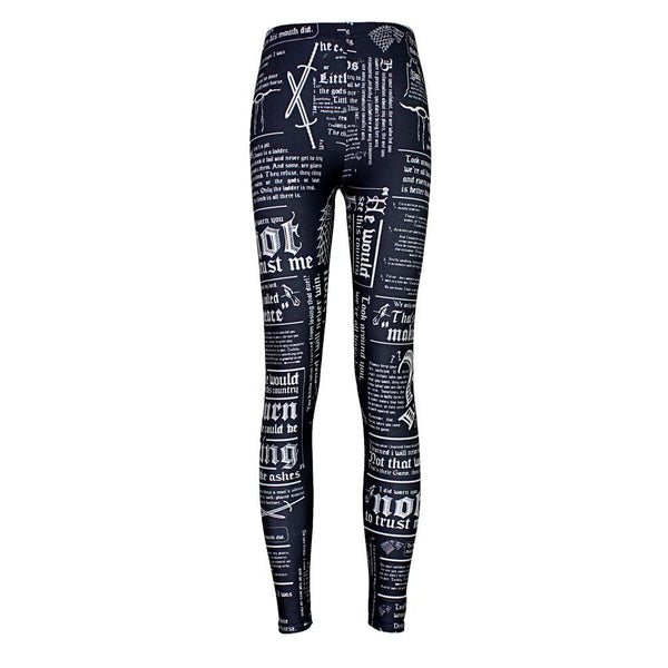 Digital printing black bottom English letter tight sexy underpants leggings