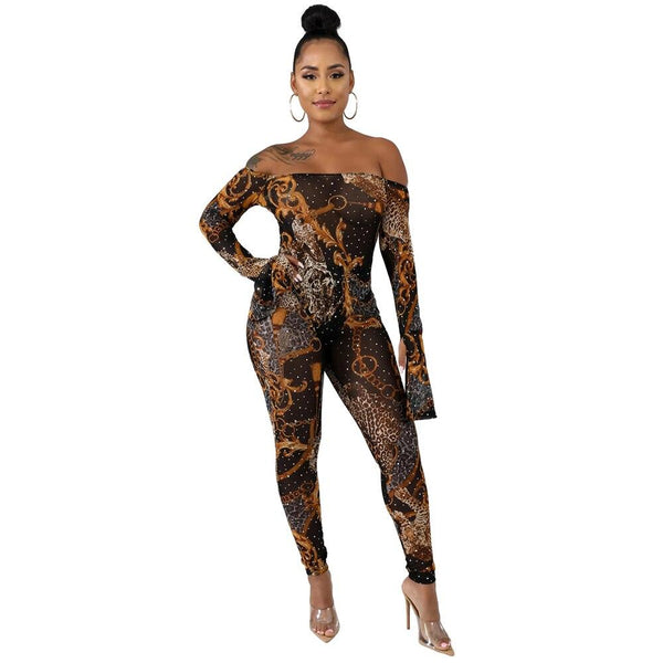 Zoctuo Women Sexy Printed Diamonds Two Piece Set Long Sleeve Night Club Outfits Office Lady 2019 Autumn