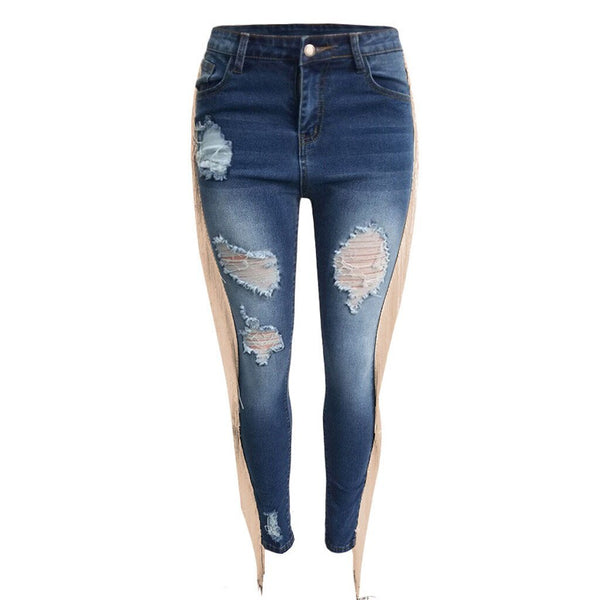 Bohemia Tassel Women Slim Jeans Pants Shinny Ripped Pencil Pant Lady Ankle Length Ripped Denim Ethnic Trousers Stretchy Bottoms