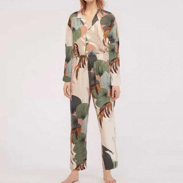 2019 Pajamas Women's Short-sleeved Cropped Trousers Pajamas Set Shein Printing Lapel Casual Large Size Loose Thin Home Clothes