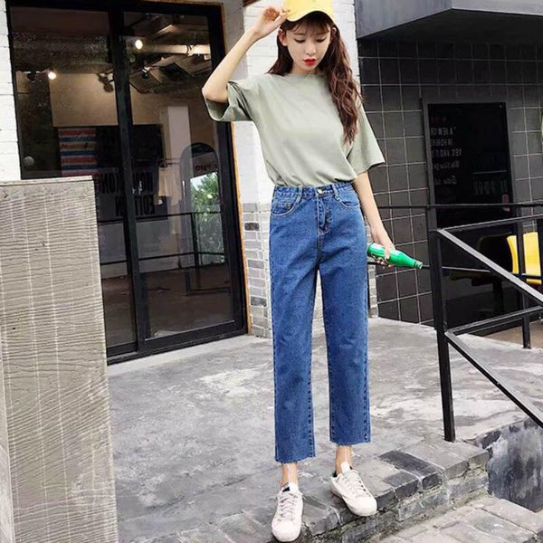 Autumn Jeans Mujer 2019 New Solid High Waist Harem Pants Fashion Casual Loose Style Ankle-length Straight Jeans#25