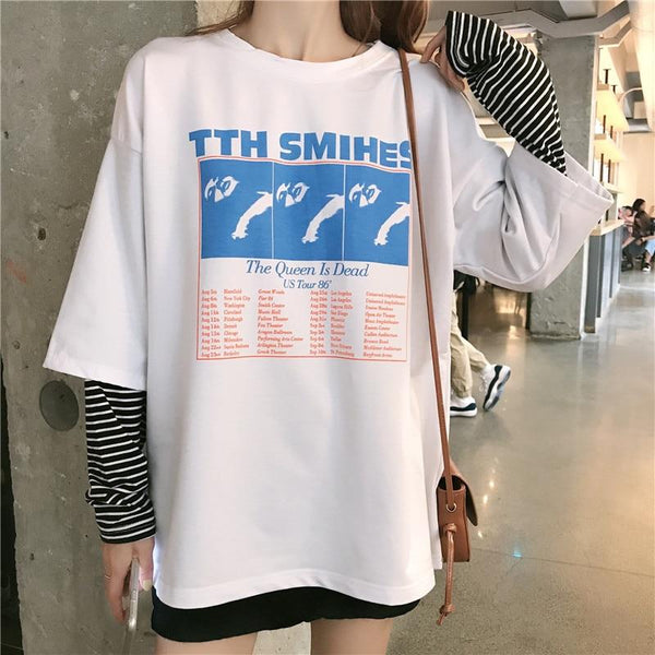 Harajuku Ulzzang Oversize tshirt letter Patchwork long Sleeve T-Shirts Korean Women 2019 autumn T shirt Female Casual black tops