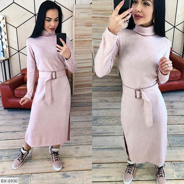 2019 Autumn Winter Dress Turtleneck Full Sleeve knitting Dresses straight MId-calf Casual elegant With Sashes Vestidos