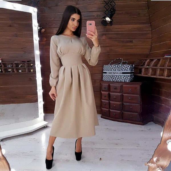 Women Vintage Hollow Out A-line Party Long Dress Long Sleeve O neck Solid Elegant Casual Dress 2019 Autumn New Fashion Dress