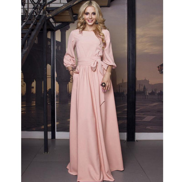 2019 Vintage Bow Tie Maxi Long Party Dress Ladies Lantern Sleeve o Neck Solid Elegant Dress Autumn Long Sleeve Casual Dress