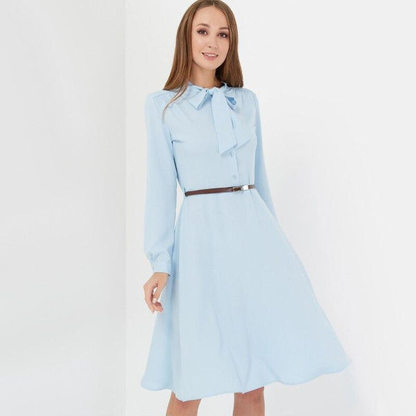 Women Casual Bow Tie Party Dress Ladies Long Sleeve a Line Elegant Dress 2019 New Fashion Women Knee Dress Vintage Solid Vestido
