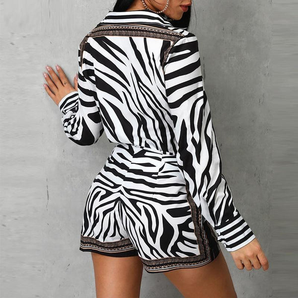 Women Zebra Print Buttoned Shirt & Zipper Short Sets Full Casual Single Breasted Turn-down Collar Shirt Above Knee Mini Short