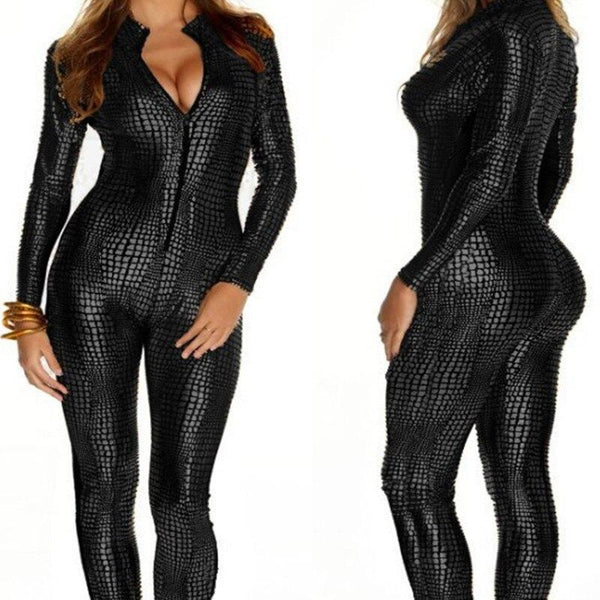 Sexy Black Wet Look Snake Jumpsuit PVC Latex Catsuit Nightclub DS Costumes Women Bodysuits Fetish Patent Leather Game Uniforms