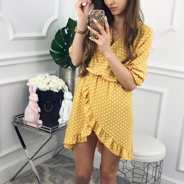 Womens Wave point Half Sleeve Mini Dress Ladies Polka Dot Summer Dress 2019 Yellow Split Party Dress
