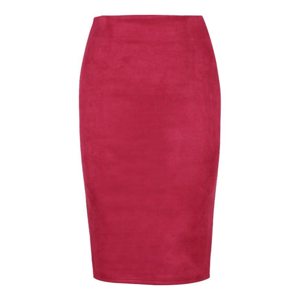Sexy Multi Color Suede Midi Pencil Skirt Women 2018 Fashion Elastic High Waist Office Lady Bodycon Skirts Saias