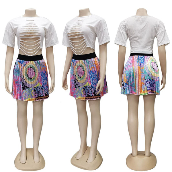 2 Pieces Set Sexy Autumn Fashion Women Set 2019 Female Tops Floral Print Long Sleeve Shirt Elastic Waist Mini Skirts Clothes New