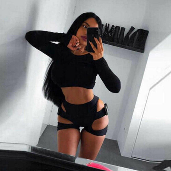 Sexy High Waist Shorts Women Joggers Cycling Elastic Hip Hollow Buckle High-cut Dancing Gym Sports Athletic Running Shorts