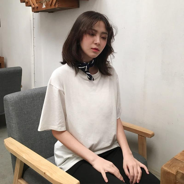 2018 Casual Solid Ladies Black White Cotton Oversize T Shirt Women Tshirt Plus Size Short Sleeve O-neck DX612