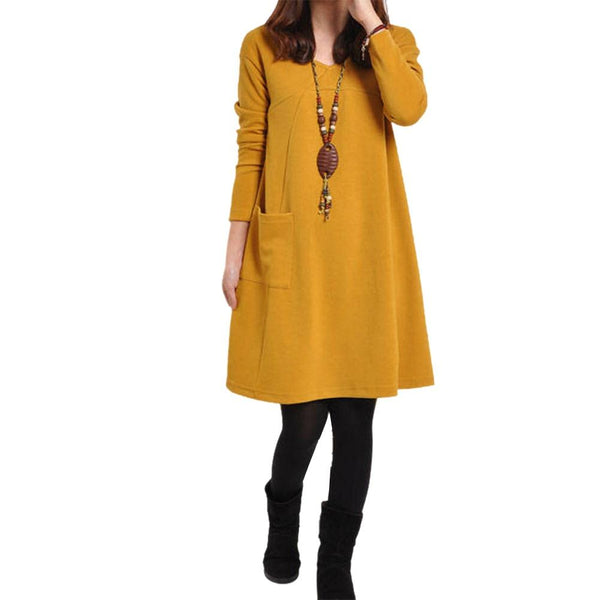 New Fashion Women Dresses With Pocket Solid Color Long Sleeve V Neck Loose Casual Autumn Winter Dress Plus Size PO66