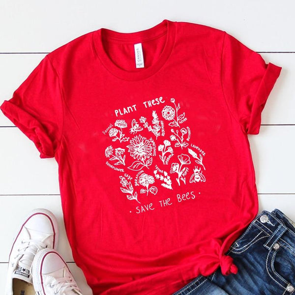 Plant These Harajuku Tshirt Women Causal Save The Bees T-shirt Cotton Wildflower Graphic Tees Woman Unisex Clothes Drop Shipping