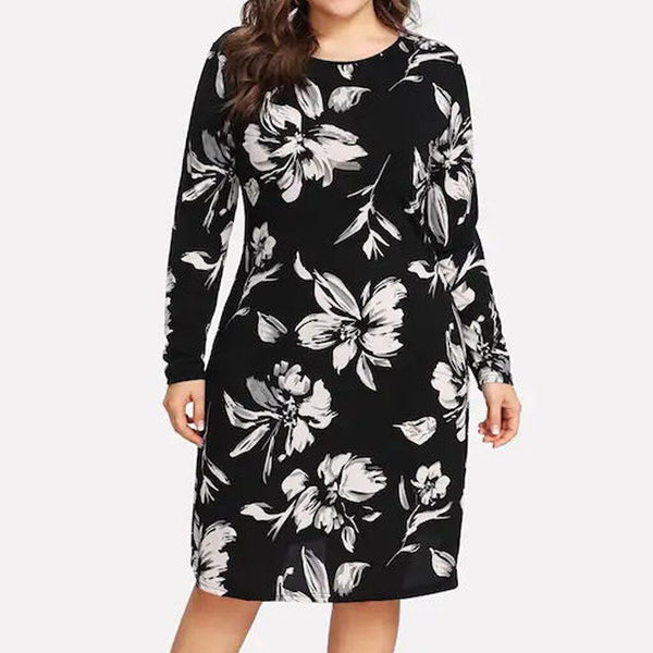 Women Plus Size 5XL Dress Casual Floral Printing O-Neck Long Sleeve Party Loose Dresses Elegant vestidos de festa Dresses 2019