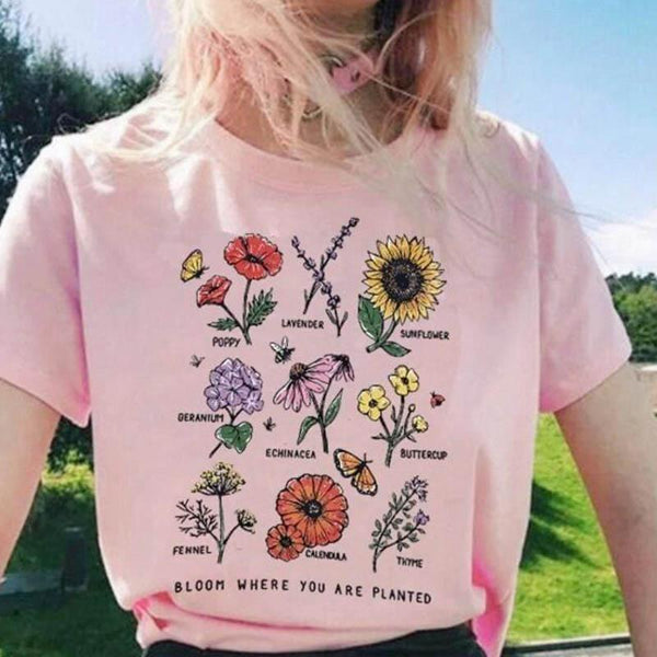 Wildflower Graphic Tees Women Floral Print T Shirt Women Sunshine Plant These Tee Unisex T-shirt  Grunge 90s Fashion Travel Tops