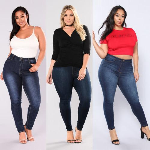 Women Plus Size Stretch Denim Skinny Jeans Pants High Waist Trousers Jeans