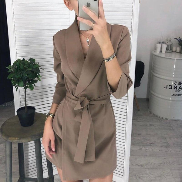 Women Vintage Sashes A-line Party Mini Dress Long Sleeve Notched Collar Solid Casual Elegant Dress 2019 Winter New Fashion Dress