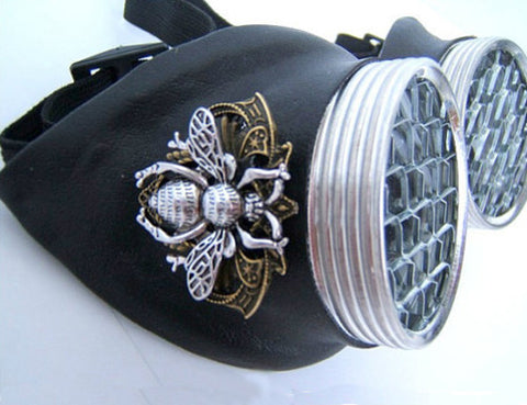 fun steampunk goggles with black leather, honeycomb lens and bumblebee emblem