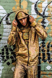 Cosmic Holographic Men's Hoodie - UV gold shatter