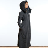 full length womens charcoal hooded fleece winter coat