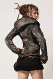 womens rainbow serpent burner style leather jacket
