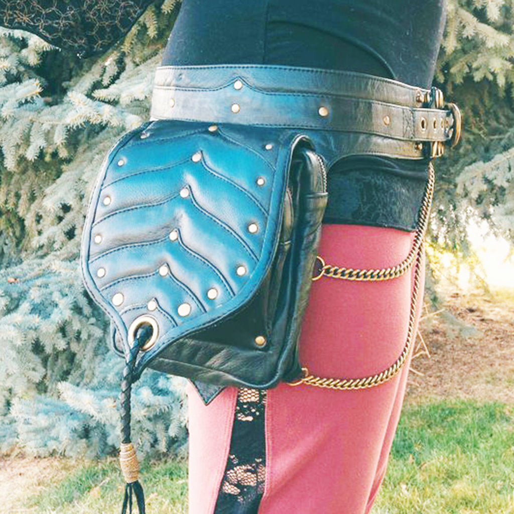 all leather hand made double pocket utility belt with brass grommets and chains