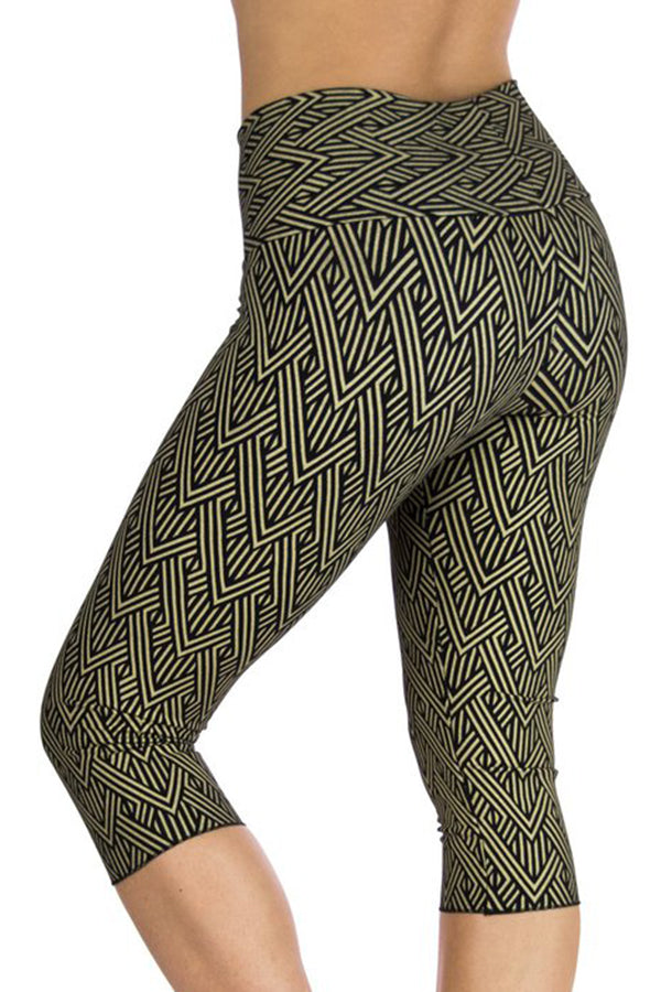 Malaya Yoga Capris with Deco Arrow Print