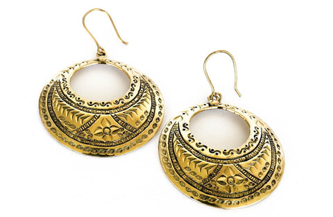 bohemian boho gypsy brass hoop earrings