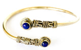 Egyptian brass bracelet bangle with lapis lazuli