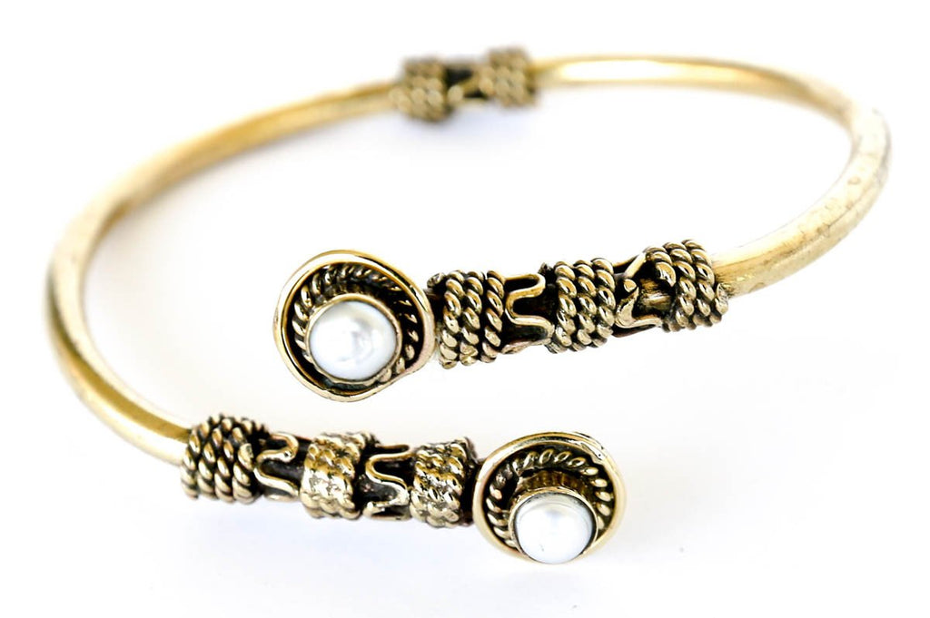 Egyptian brass bracelet bangle with pearl