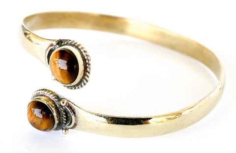 Brass bracelet bangle tiger's eye by Blonde Vagabond