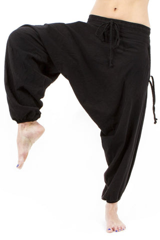 low crotch harem dance pants by buddha pants - solid black flair