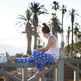 low crotch harem dance pants by buddha pants - blue elephants print