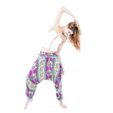 low crotch harem dance pants by buddha pants - purple elephants print