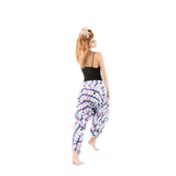 low crotch harem dance pants by buddha pants - pink snake eye print