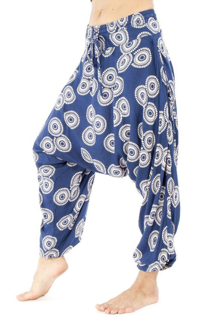 low crotch festival style harem pants by buddha pants - blue sunshine print