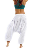 100% cotton low crotch summer sheer white harem dance pants for men and women
