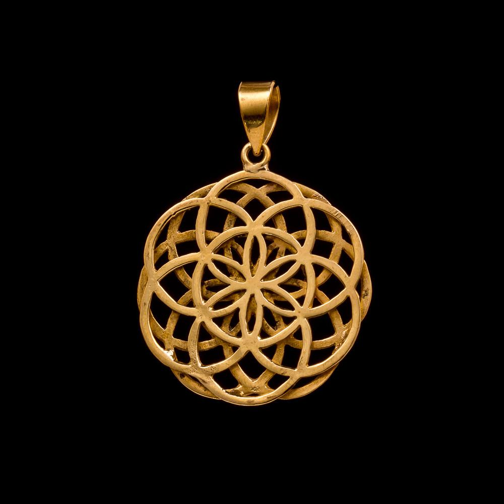 Sacred Geometry Mens Pendant, Seed of Life Necklace