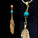 Boho Feather Necklace, Leaf Pendant with turquoise