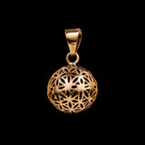 Flower of Life Pendant, Brass Sacred Geometry Jewelry, Yoga Gifts