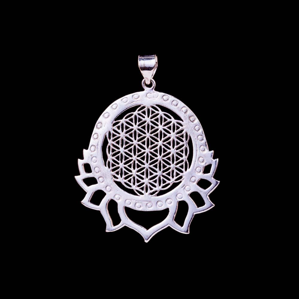 Flower of Life silver pendant, lotus mandala necklace, spiritual gifts