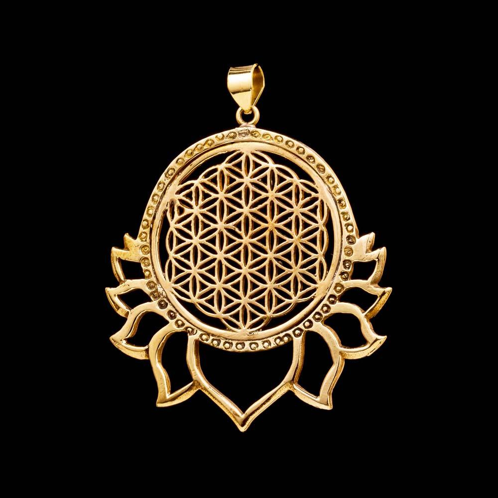 Flower of Life Lotus Pendant, Sacred Geometry Jewelry, Yoga Necklace