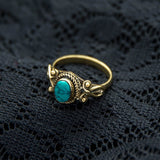 gift for her, blue turquoise gemstone, gold, brass ring