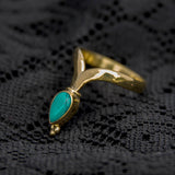 gold tone brass, blue turquoise gemstone