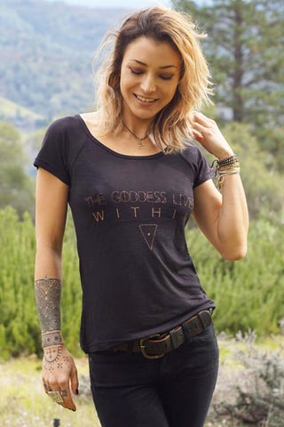 Goddess Lives Within T-Shirt - black w/gold print